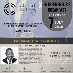 Entrepreneurs Breakfast Tips by Dr J Gule